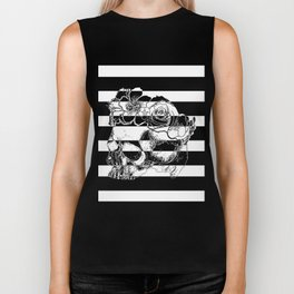 Gorgeous Skull With Flower Crown - Black and White Stripes Biker Tank