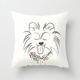 Pomeranian Petal Flowers Bold Throw Pillow