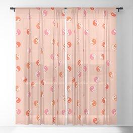 Ying and yang pink pattern  Sheer Curtain