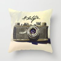 selfie Throw Pillows featuring Selfie by kaiartem