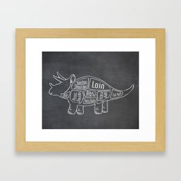 Triceratops Dinosaur (A.K.A Three Horn Face) Butcher Meat Diagram Framed Art Print