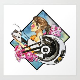 Chell & GladOs Art Print
