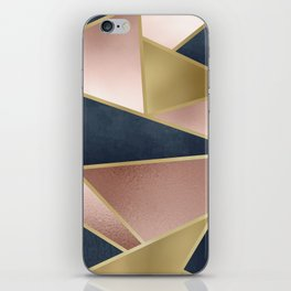 Rose Gold, Pink and Navy Blue Modern Geometric Pattern iPhone Skin