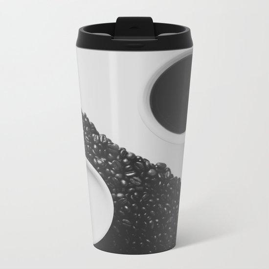 Black and White Coffee Metal Travel Mug