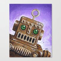 steam punk Canvas Prints featuring i.Friend: Steam Punk Robot by CHRIS MASON