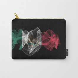 Mexico Smoke Flag on Black Background, Mexico flag Carry-All Pouch