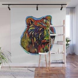 Kaleidoscope Bear on White Wall Mural