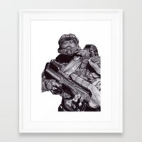 master chief Framed Art Prints featuring Master Chief Pen Drawing by DeMoose_Art