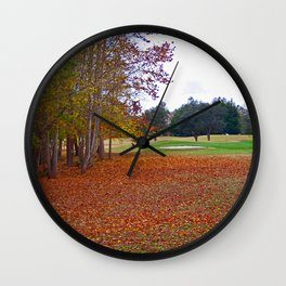 15th Hole in Autumn Wall Clock