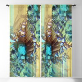 Teal and Brown Lined Abstract Blackout Curtain