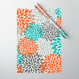 Floral Pattern, Abstract, Orange, Teal and Gray Wrapping Paper