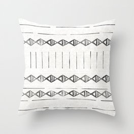 Mudcloth Print 2, in black and off white Throw Pillow