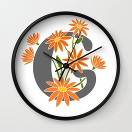 Letter G Floral Monogram Wall Clock