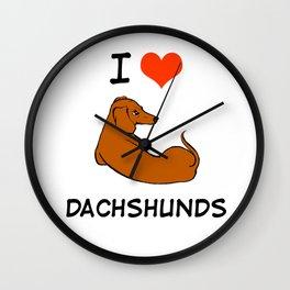 I love Dachshunds Wall Clock