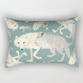 Totem Artic Wolf Turquoise Rectangular Pillow