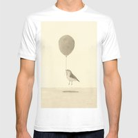 bird with a balloon White MEDIUM Mens Fitted Tee