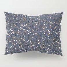 Speckles I: Dark Gold & Snow on Blue Vortex Pillow Sham