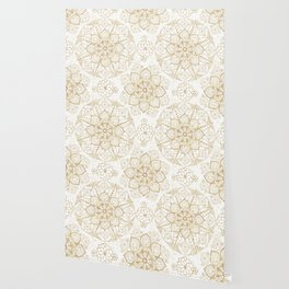 Stylish boho hand drawn golden mandala Wallpaper