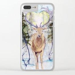 Winter Deer Clear iPhone Case