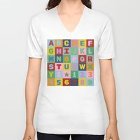 alphabet V-neck T-shirts featuring Alphabet by Project M