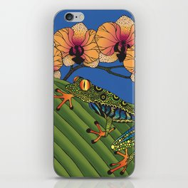 Tree Frog with Orchids iPhone Skin
