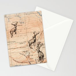 Stags walking the map Stationery Cards
