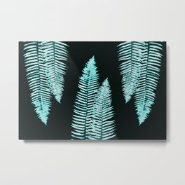 Teal Turquoise Forest Ferns Metal Print