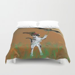 Cat Walking His Bat Duvet Cover