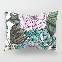 Hand painted pink teal lavender green watercolor floral Pillow Sham