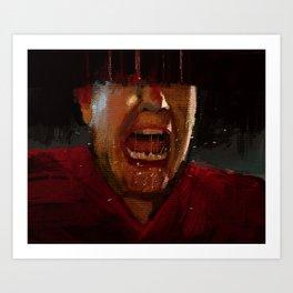 Man screaming texture illustration painting Art Print