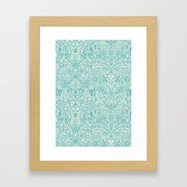 Detailed Floral Pattern in Teal and Cream Framed Art Print