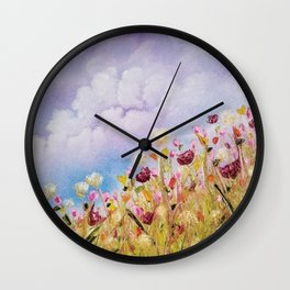 Look to the light, skyscape, landscape, flowers, wild flowers, clouds Wall Clock