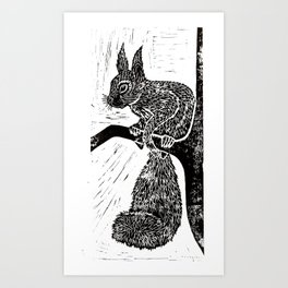 Red Squirrel Lino Print Art Print