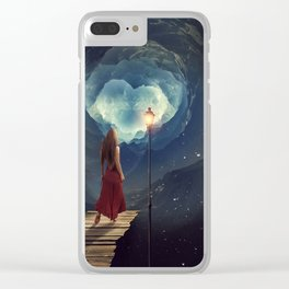 Woman Waking Into Outer Space Clear iPhone Case