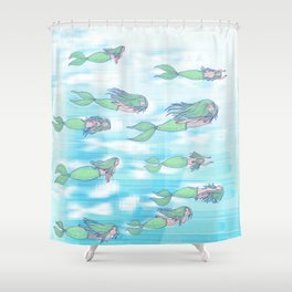 Mermaids dream by day Shower Curtain