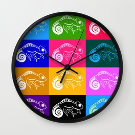 Rainbow chameleon drawing, with rainbow colors Wall Clock