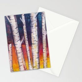 Birch Trees at Dusk Stationery Cards