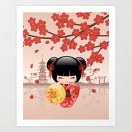 Japanese Red Sakura Kokeshi Doll Art Print