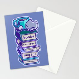 Books and coffee are magical: Skribbles the Cat Stationery Cards