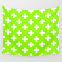Lime Green Plus Sign Pattern Wall Tapestry