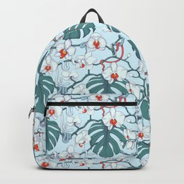 Wild Orchids Tropical Pattern (blue) Backpack