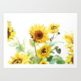 Watercolor Sunflower Art Print