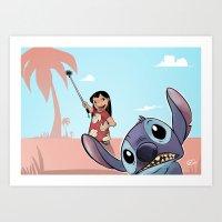 lilo and stitch Art Prints featuring Lilo and Stitch by Gaetano Caltabiano Design