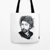 radiohead Tote Bags featuring Thom Yorke [Radiohead] by ieIndigoEast