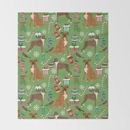 Boxer dog christmas pattern must have holiday themed dog breed pet friendly accessories for home Throw Blanket