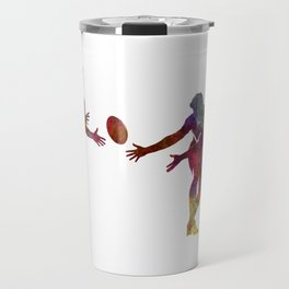 Rugby men players 02 in watercolor Travel Mug