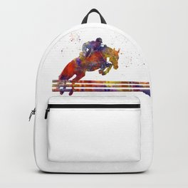 horse jumping fence Backpack