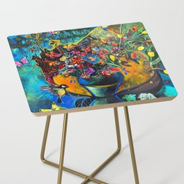 Flowers in Blue Landscape Side Table