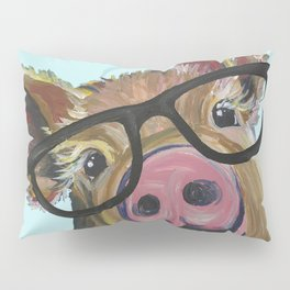 Cute Pig, Pig Art, Farm Animal Pillow Sham