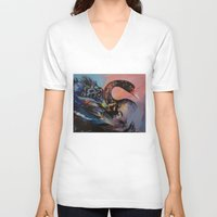 black swan V-neck T-shirts featuring Black Swan by Michael Creese